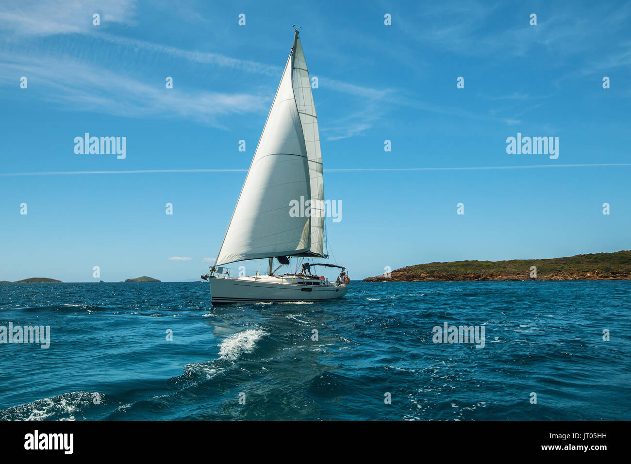 Luxery yacht Sailing on the waves in the Aegean sea. - Stock Image