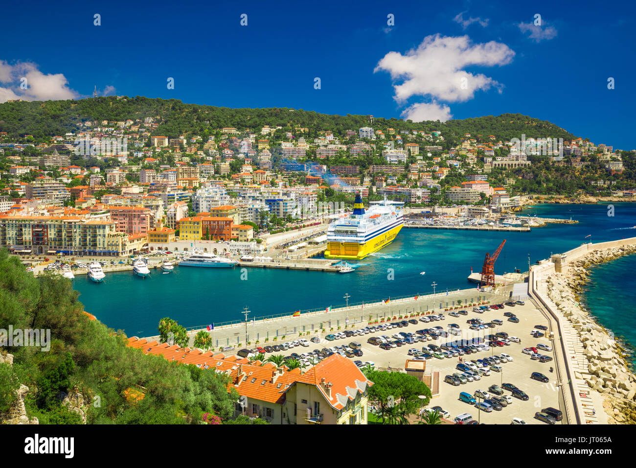 Corsica ferry in the harbor of Nice, French riviera, France, Europe. - Stock Image