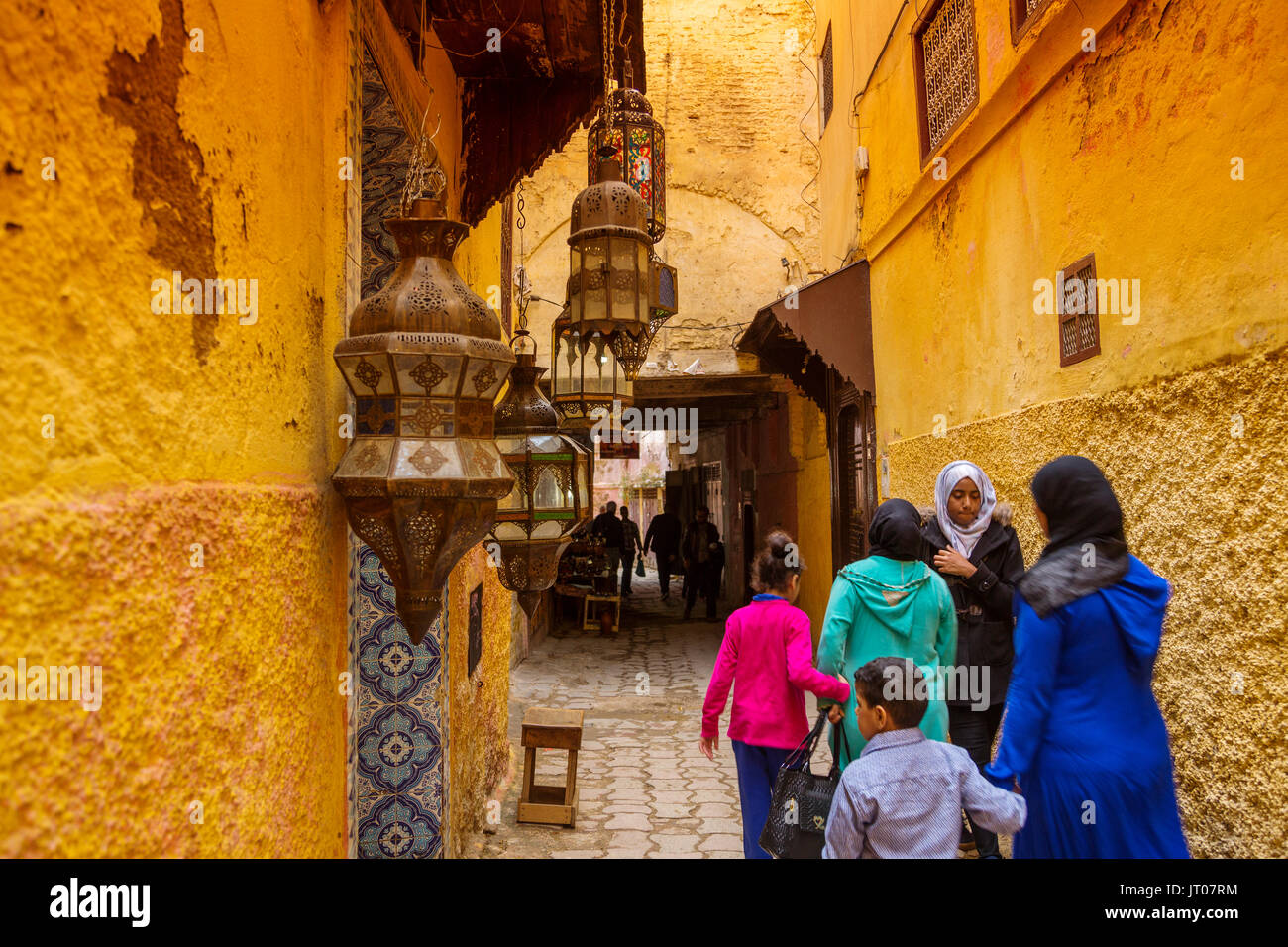 Street life scene. Imperial city Meknes, Morocco, Maghreb North Africa - Stock Image