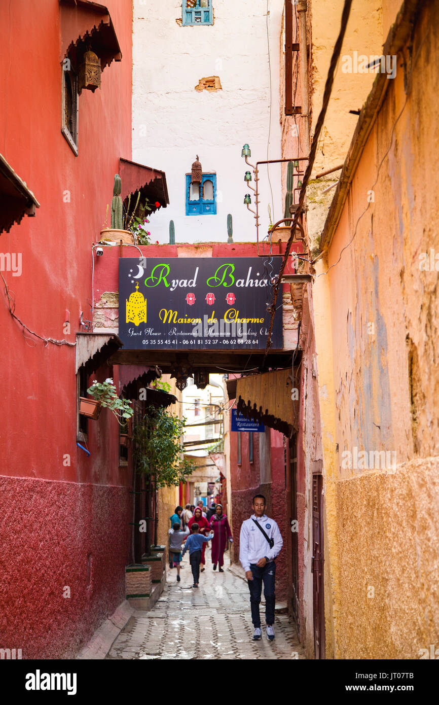Street life scene. Imperial city Meknes, Morocco, Maghreb North Africa Stock Photo