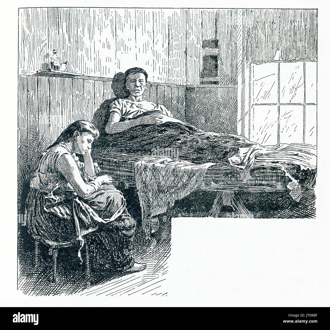 This late 19he-century illustration shows two tenants in New York City in a tenement that was near the Water Street Mission. In 1872 businessman Frederick Hatch bought the property in Lower Manhattan that became the Water Street Mission. He had met Jerry McAuley and put him in charge of this new venture - America's first Rescue Mission. - Stock Image
