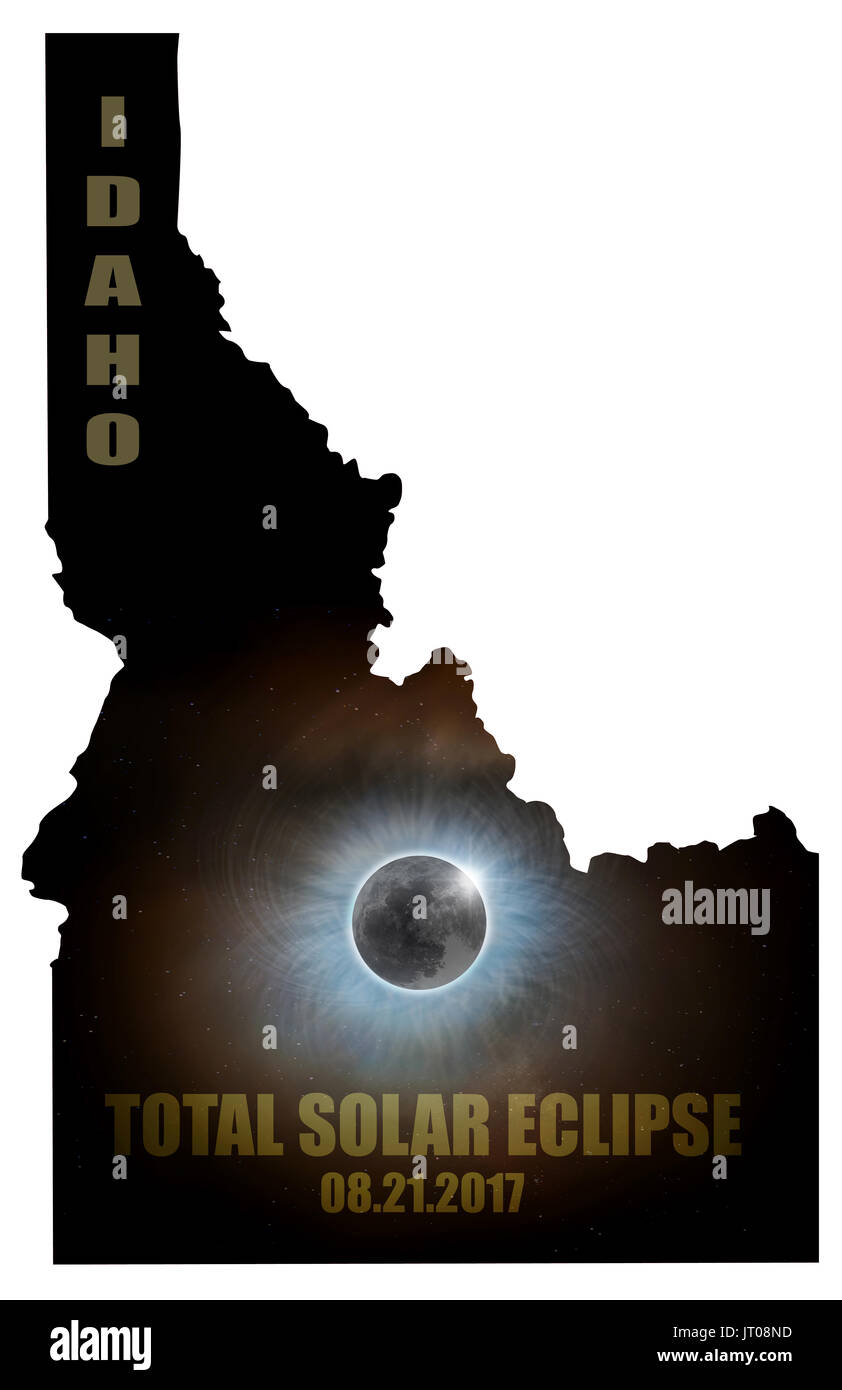 Total Solar Eclipse Sun Moon Stars Corona in Idaho State Map Outline - Stock Image