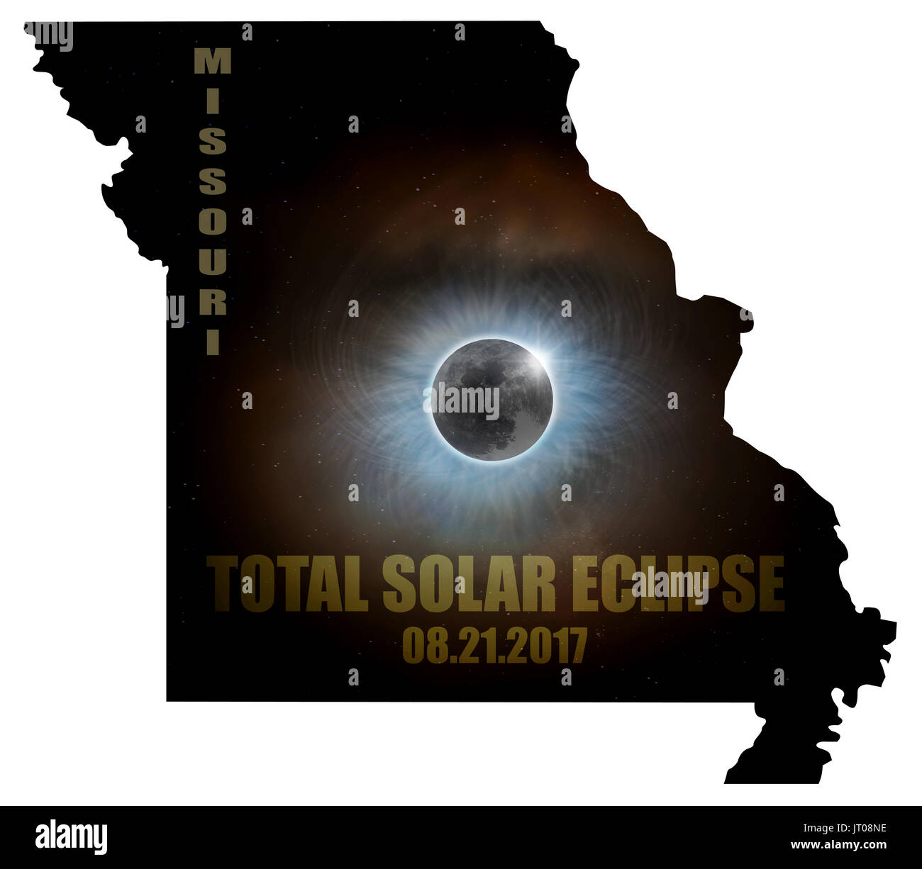 Total Solar Eclipse Sun Moon Stars Corona in Missouri State Map Outline - Stock Image