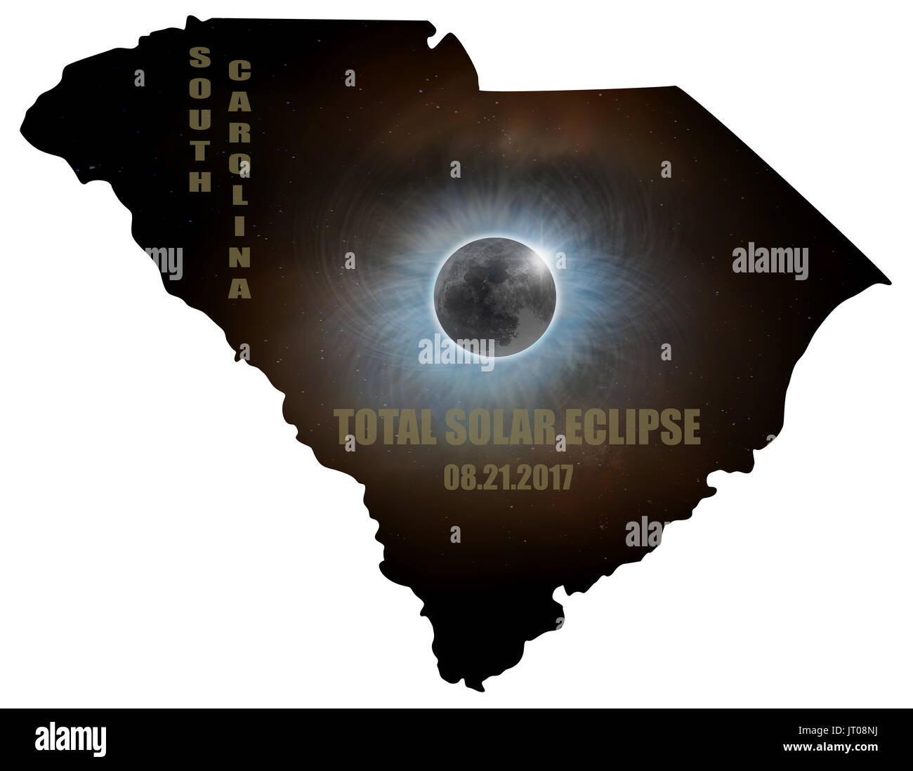 Total Solar Eclipse Sun Moon Stars Corona in South Carolina State Map Outline - Stock Image