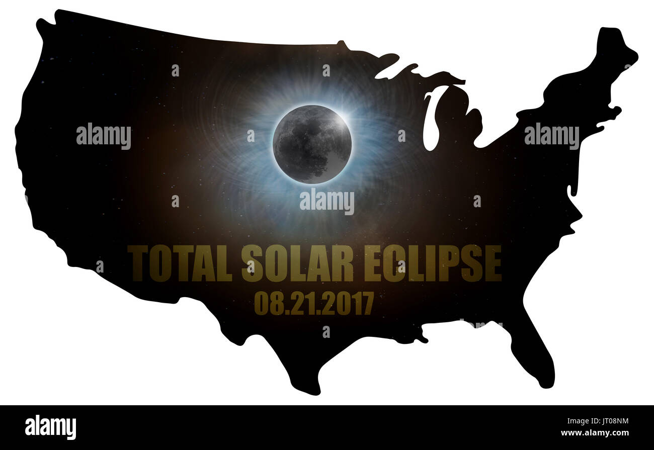 Total Solar Eclipse Sun Moon Stars Corona in United States of America Map Outline - Stock Image