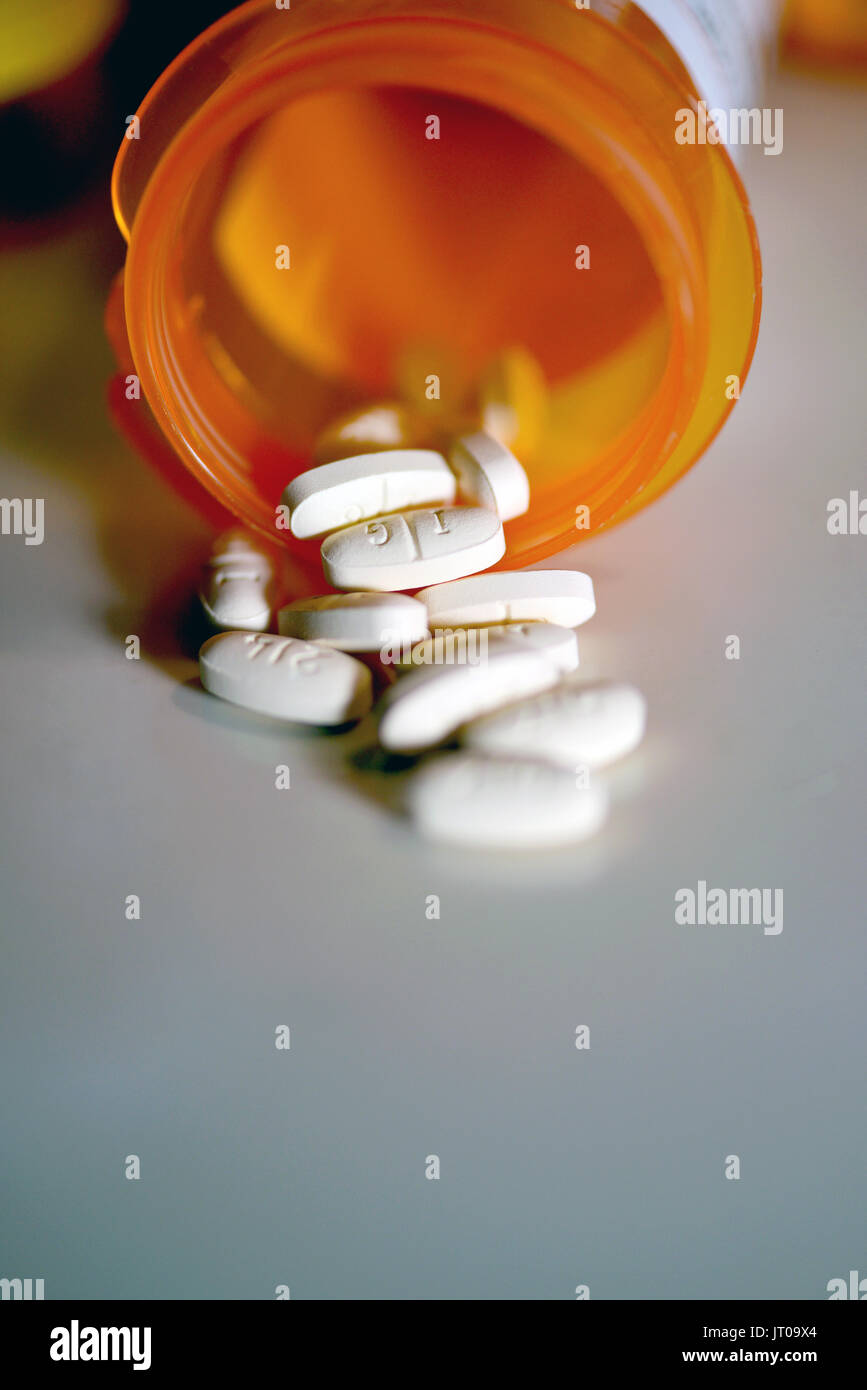 Zoloft 100 mg, Sertraline, is prescribed to treat depression, obsessive-compulsive disorder, panic disorder, anxiety disorders, post-traumatic stress  - Stock Image