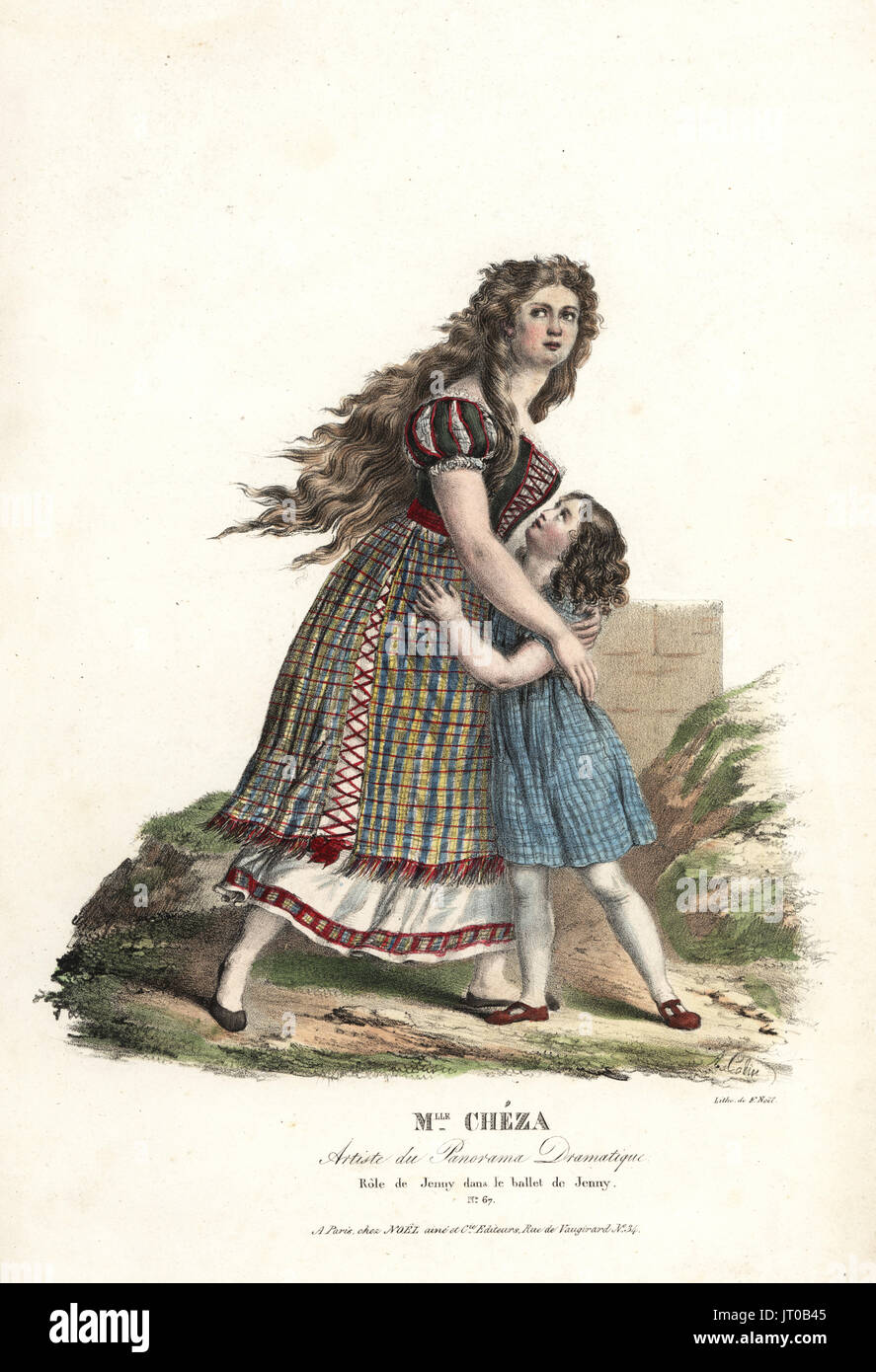 Ballerina Mlle Marie Cheza as Jenny in the ballet-pantomime Jenny by Jean-Louis Aumer, Panorama Dramatique, 1824. Handcoloured lithograph by F. Noel after an illustration by Alexandre-Marie Colin from Portraits d'Acteurs et d'Actrices dans different roles, F. Noel, Paris, 1825. - Stock Image