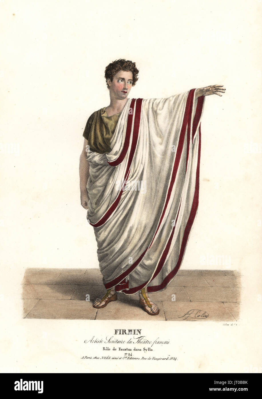 Jean-Baptiste Firmin as Faustus in the tragedy Sylla by Victor Joseph Etienne de Jouy, Theatre Francais, 1826. Handcoloured lithograph by F. Noel after an illustration by Alexandre-Marie Colin from Portraits d'Acteurs et d'Actrices dans different roles, F. Noel, Paris, 1826. - Stock Image
