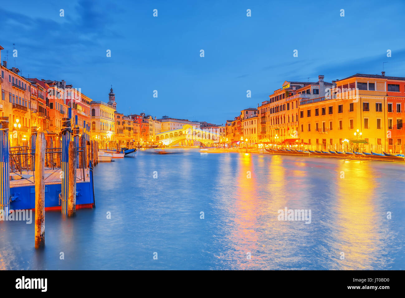 Views of the most beautiful canal of Venice - Grand Canal water streets, boats, gondolas, mansions along. Night view. Italy. - Stock Image