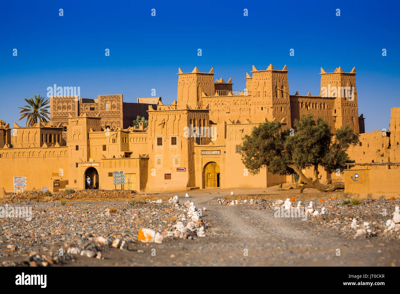 Hotel Kasbah Amridil, Dades Valley, Skoura oasis Palm Grove. Morocco, Maghreb North Africa Stock Photo
