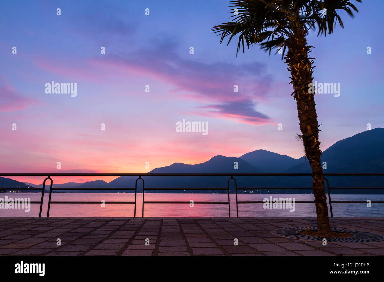 Beautiful foggy sunset at Iseo lake, Lombardy, Italy. View with palm-tree on enbankment street of Iseo city - Stock Image