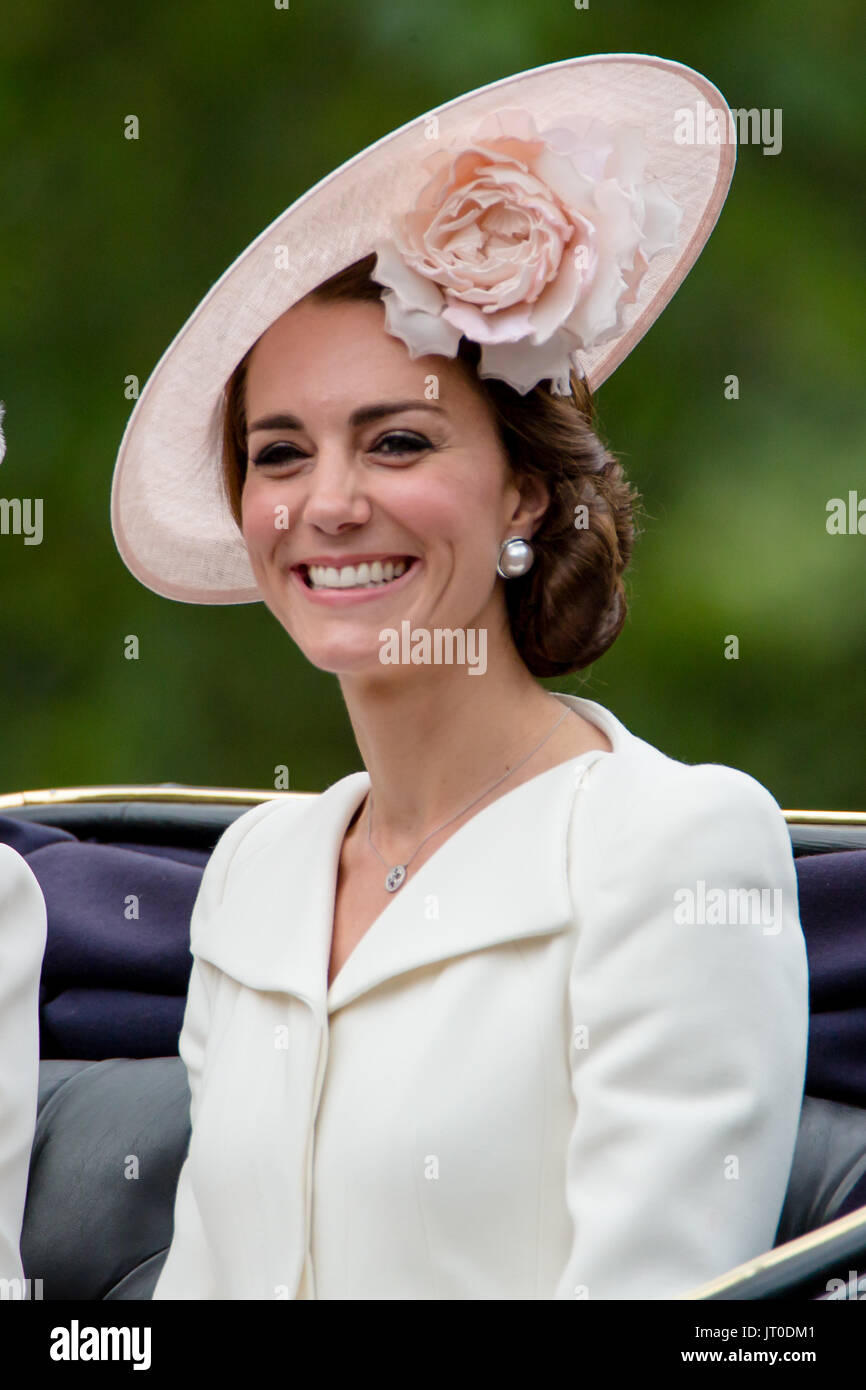 Catherine, Duchess of Cambridge attending Trooping the Colour  ceremony on 11 June 2016 in a cream Alexander McQueen coat-dress. - Stock Image