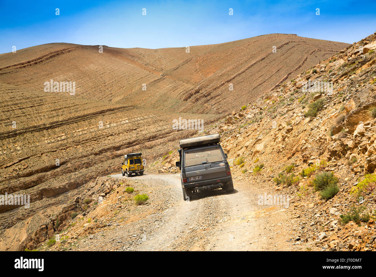 Landscape. All-terrain vehicle, Mountain road in bad condition. Dades Valley, Dades Gorges, High Atlas. Morocco, Maghreb North Africa - Stock Image