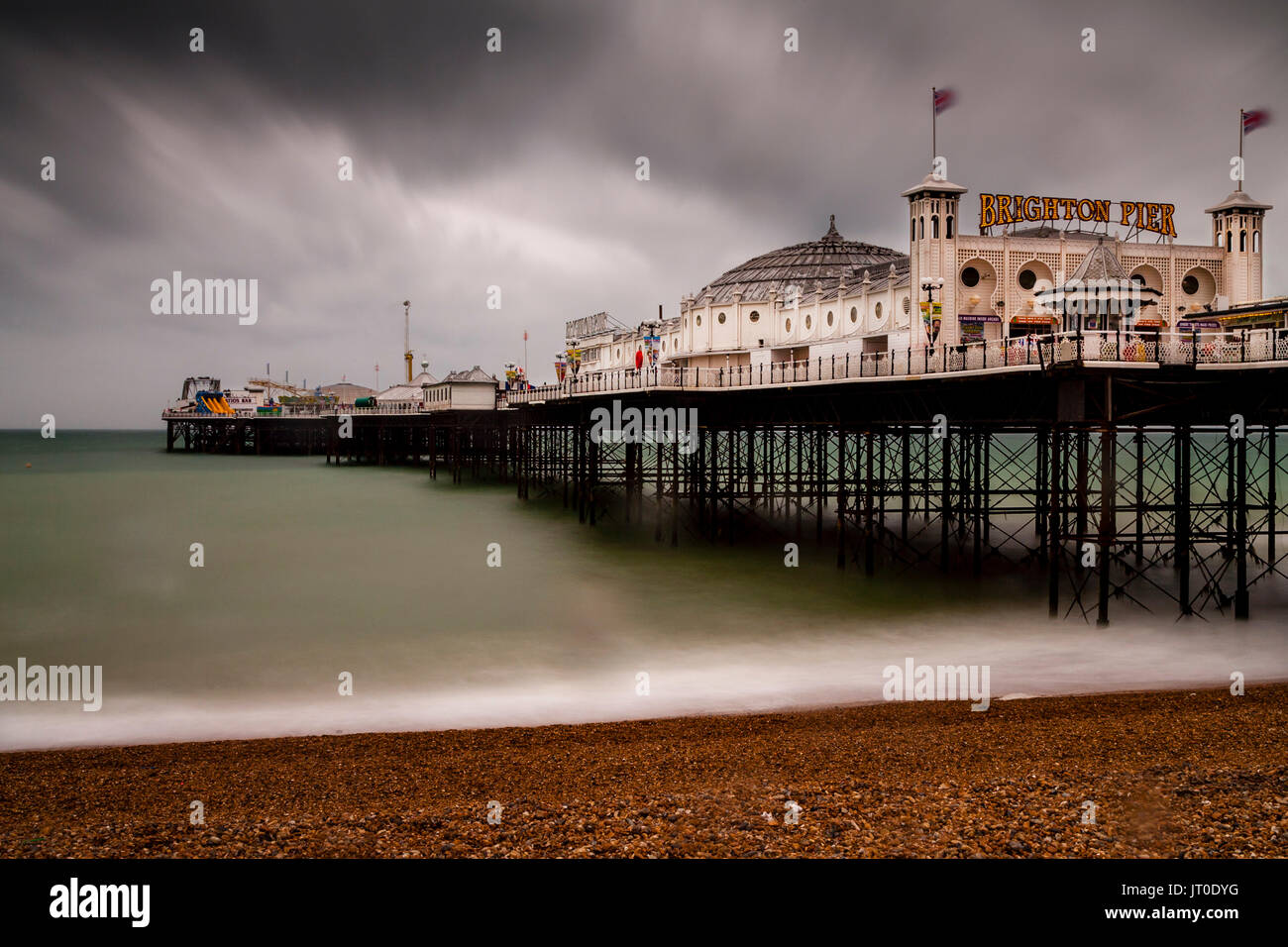 The Brighton Palace Pier On A Rainy Day, Brighton, Sussex, UK - Stock Image