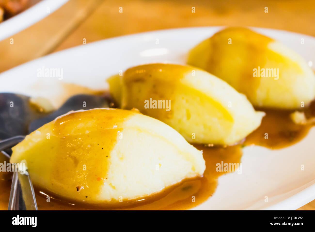 mash potato on mini dish ready to eat - Stock Image