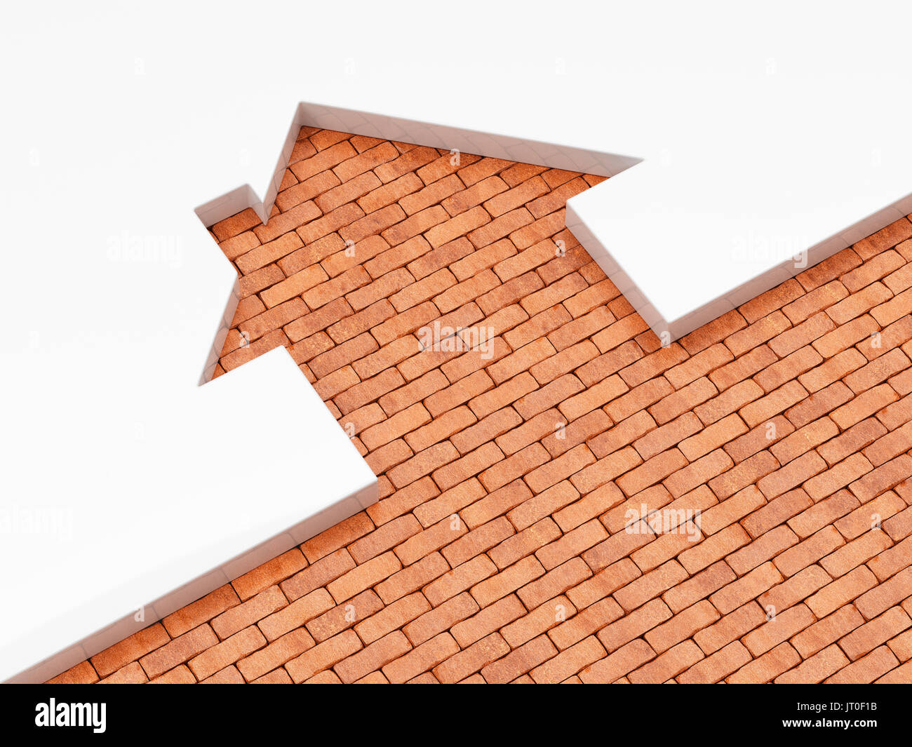 House shape brick metaphor. Home concept, real estate architecture business idea icon. 3d rendering illustration - Stock Image