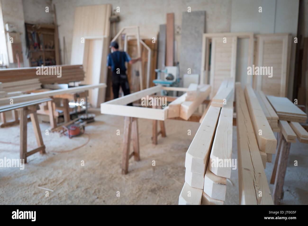Carpenter in carpentry - Stock Image