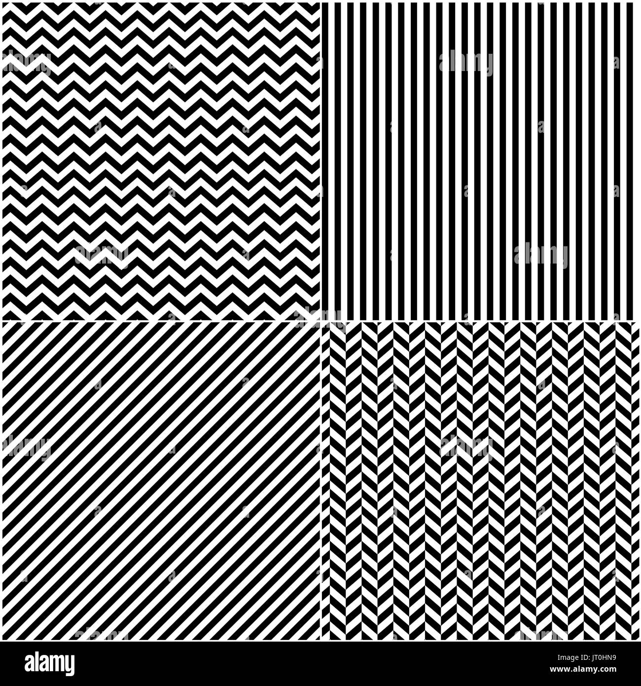 four classic black and white lines seamless patterns collection diagonal chevron zigzag and vertical straight lines seamless monochrome pattern mo