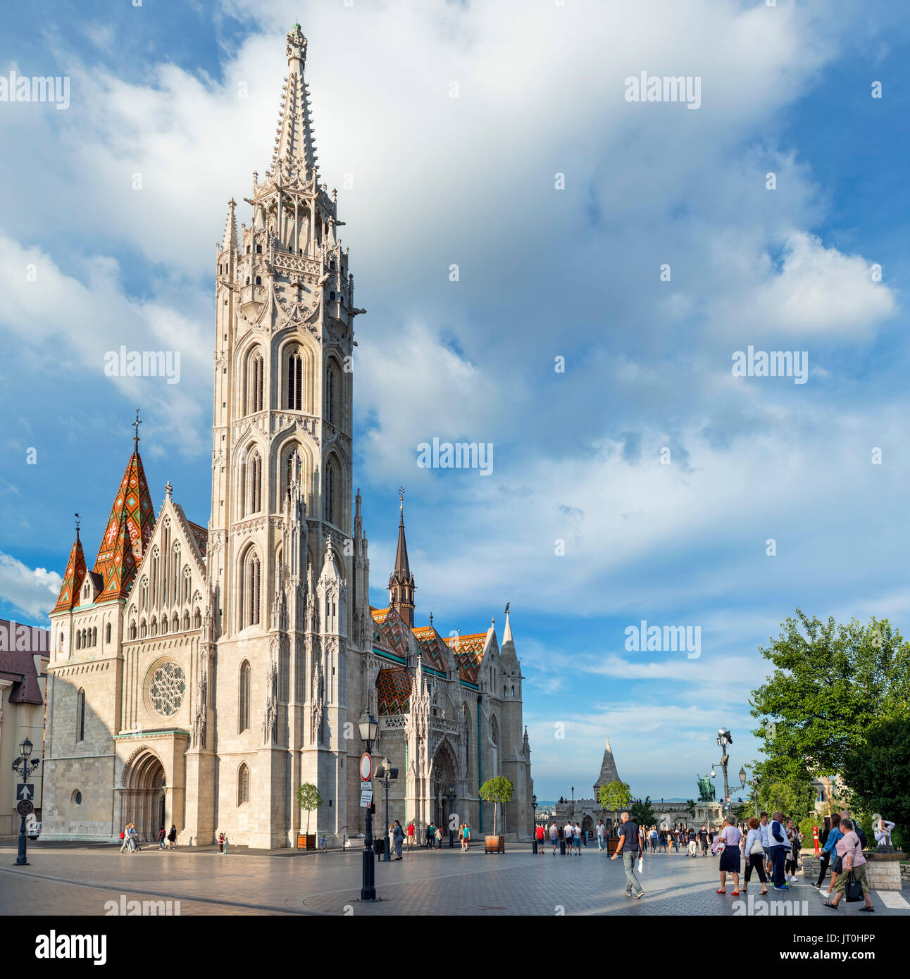 Matthias Church with Fishermen's Bastion behind, Buda Castle district, Castle Hill, Budapest, Hungary - Stock Image