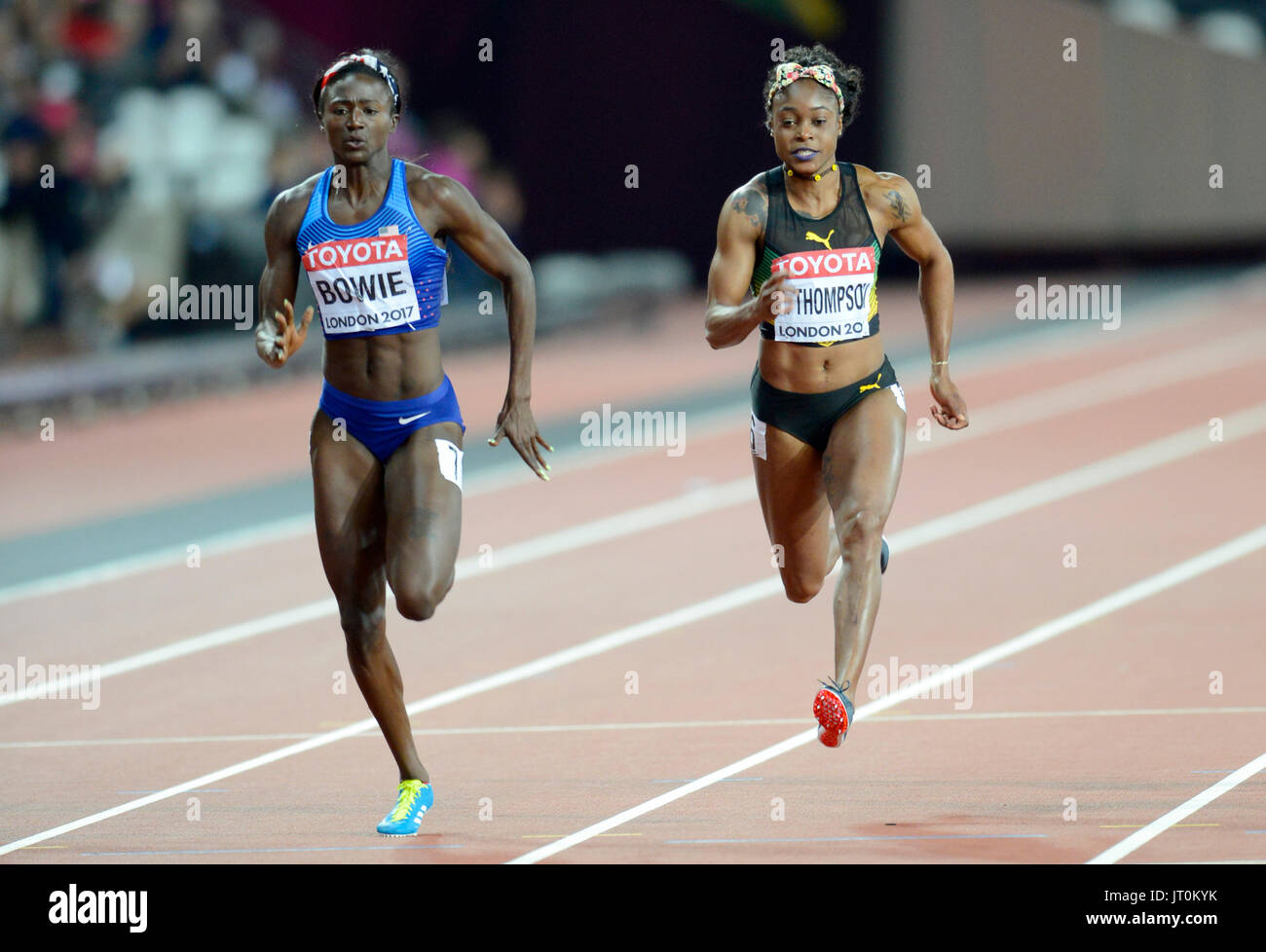 London, UK. 06th Aug, 2017. Torie Bowie, runner-up to Elaine Thompson in last year's Olympic final in Rio, crashed to the track unaware that she had pulled victory out of the bag – by 0.01 in 10.85, Credit: Mariano Garcia/Alamy Live News - Stock Image