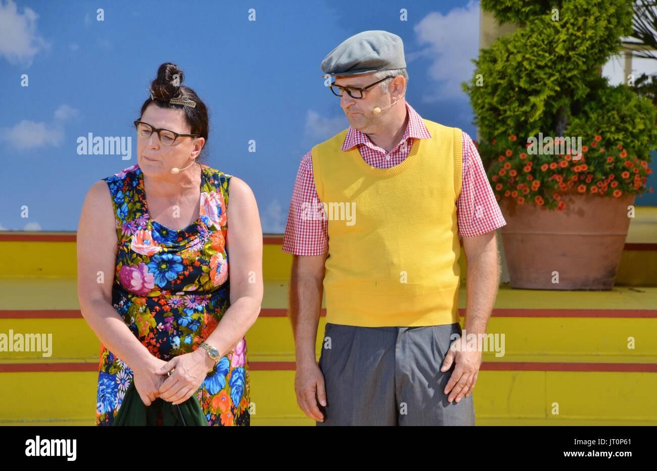 """Rust, German , 06th August, 2017, Das Erste ARD TV Show """"Immer wieder Sonntags"""" Featuring: Alois und Elsbeth Gscheidle Stock Photo"""