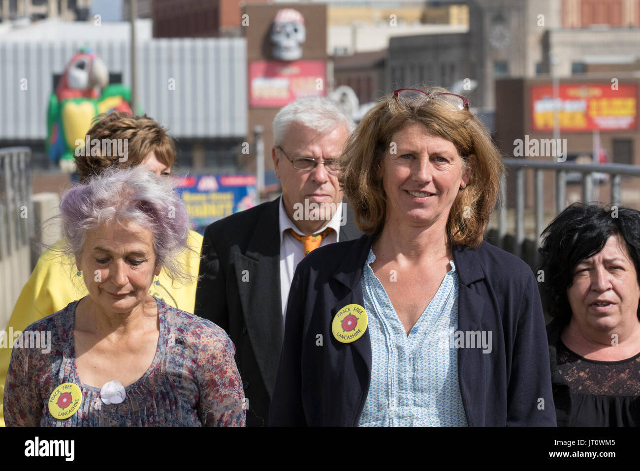 Blackpool, Lancashire, UK. 07th Aug, 2017. Green Party Councillor Gina Dowding arrives at the Magistrates County Court supported by co-defendants Nicholas Sheldrick, and Julie Brickles (wearing black) who attend in court today for taking action to halt operations at Cuadrilla's controversial fracking site for shale gas at Preston New Road. The charges came after 13 Lancashire residents, including three councillors, took direct lock-on action in an ongoing bid to prevent shale gas extraction by exploration company Cuadrilla. Credit;MediaWorldImages/AlamyLiveNews. - Stock Image