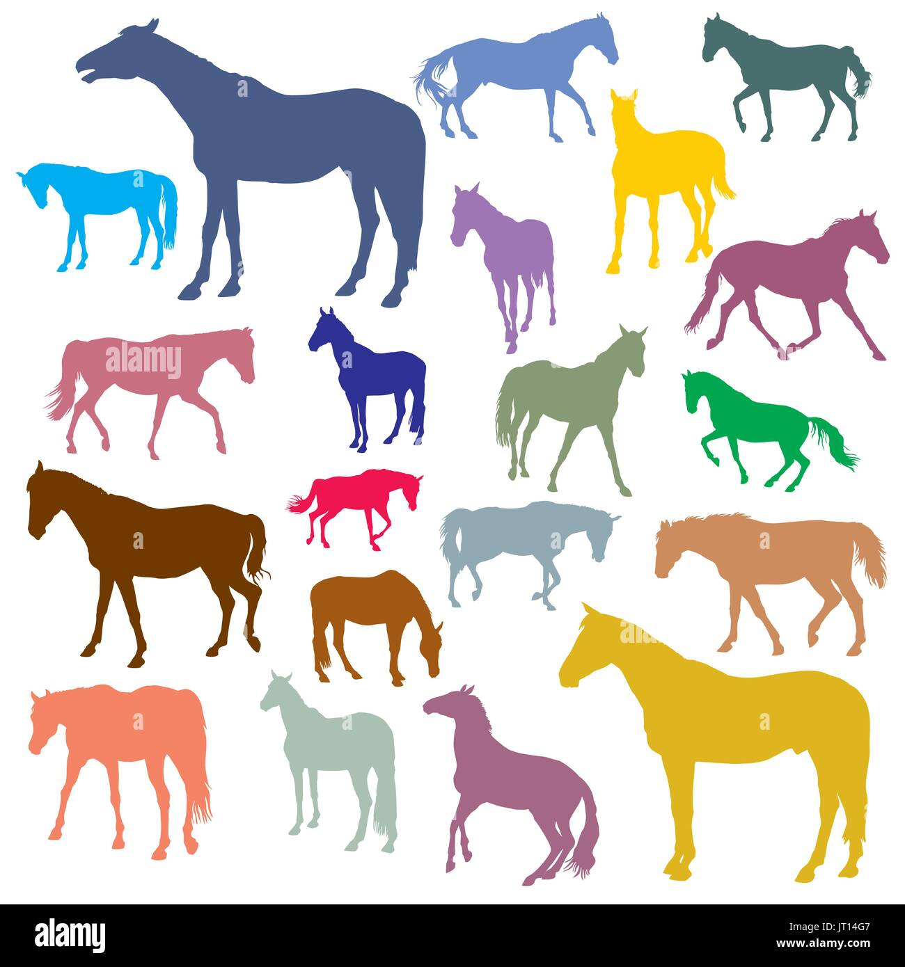 Vector isolated colorful standing, trotting and galloping horses silhouettes on white background - Stock Image