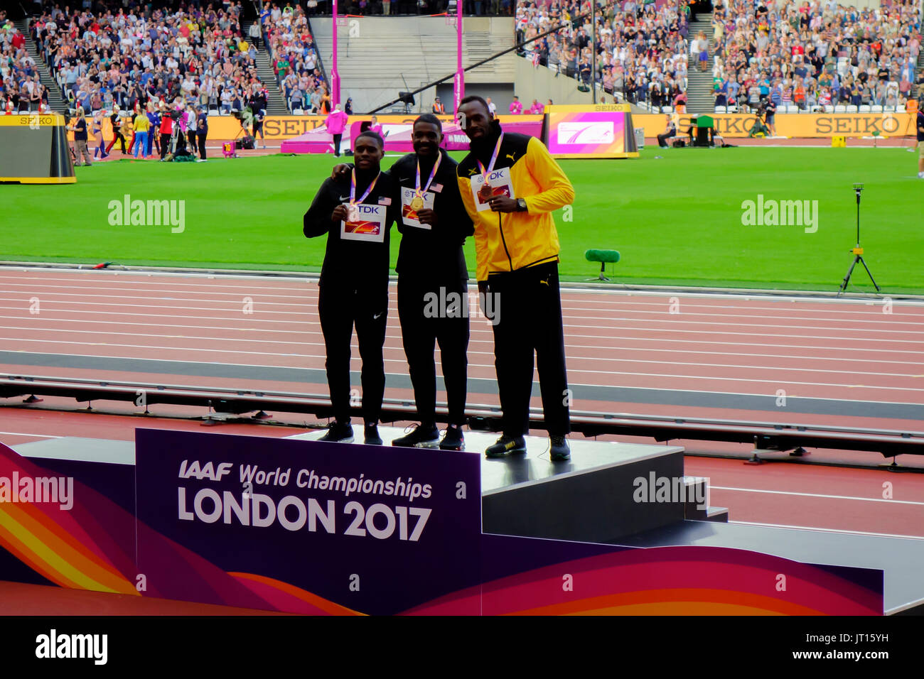 Men's 100m award ceremony at the London 2017 IAAF World Championships in London, UK, 06 August 2017. - Stock Image