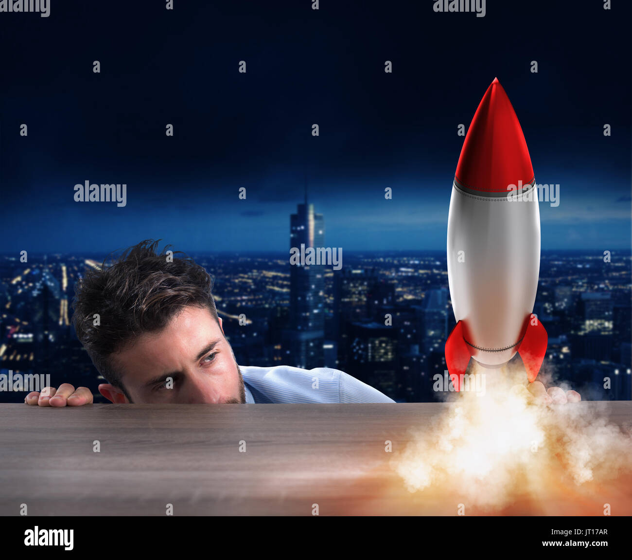 Startup of a new company with starting rocket. Concept of new business - Stock Image