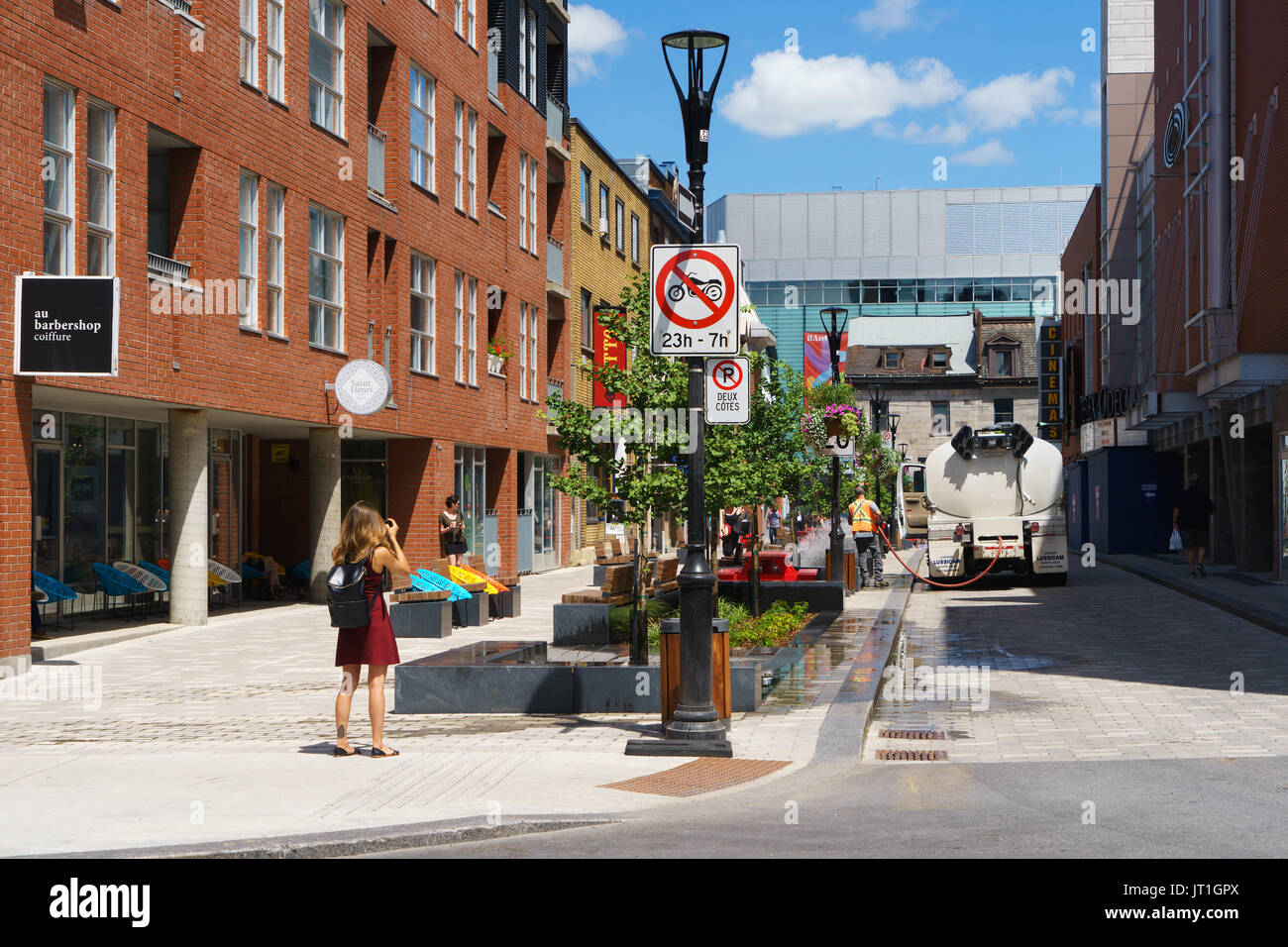 Emery street, Montreal, province of Quebec, Canada. - Stock Image