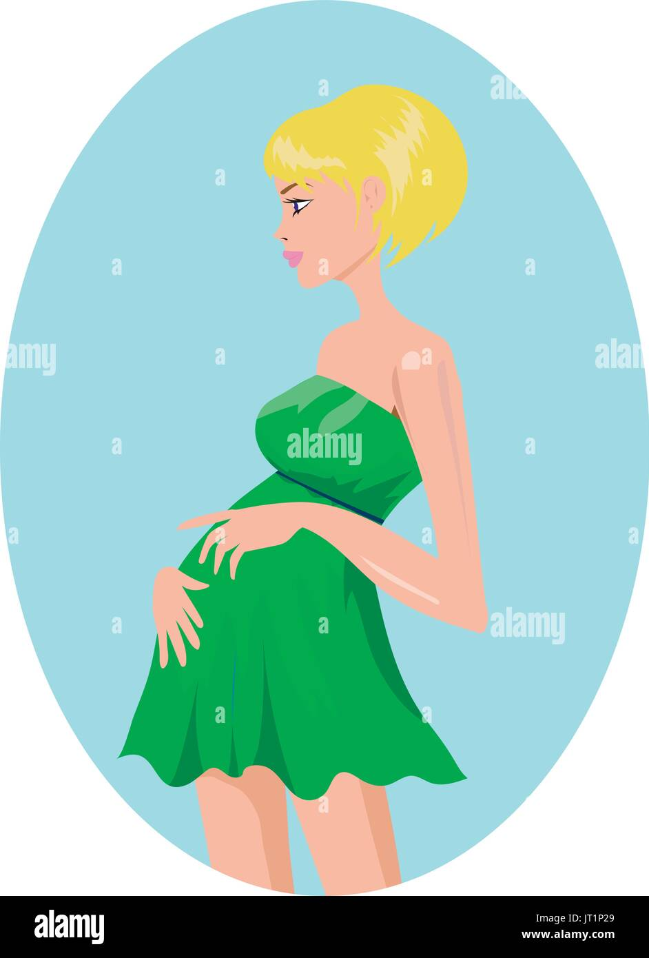 Pregnant blond woman in green dress - Stock Vector