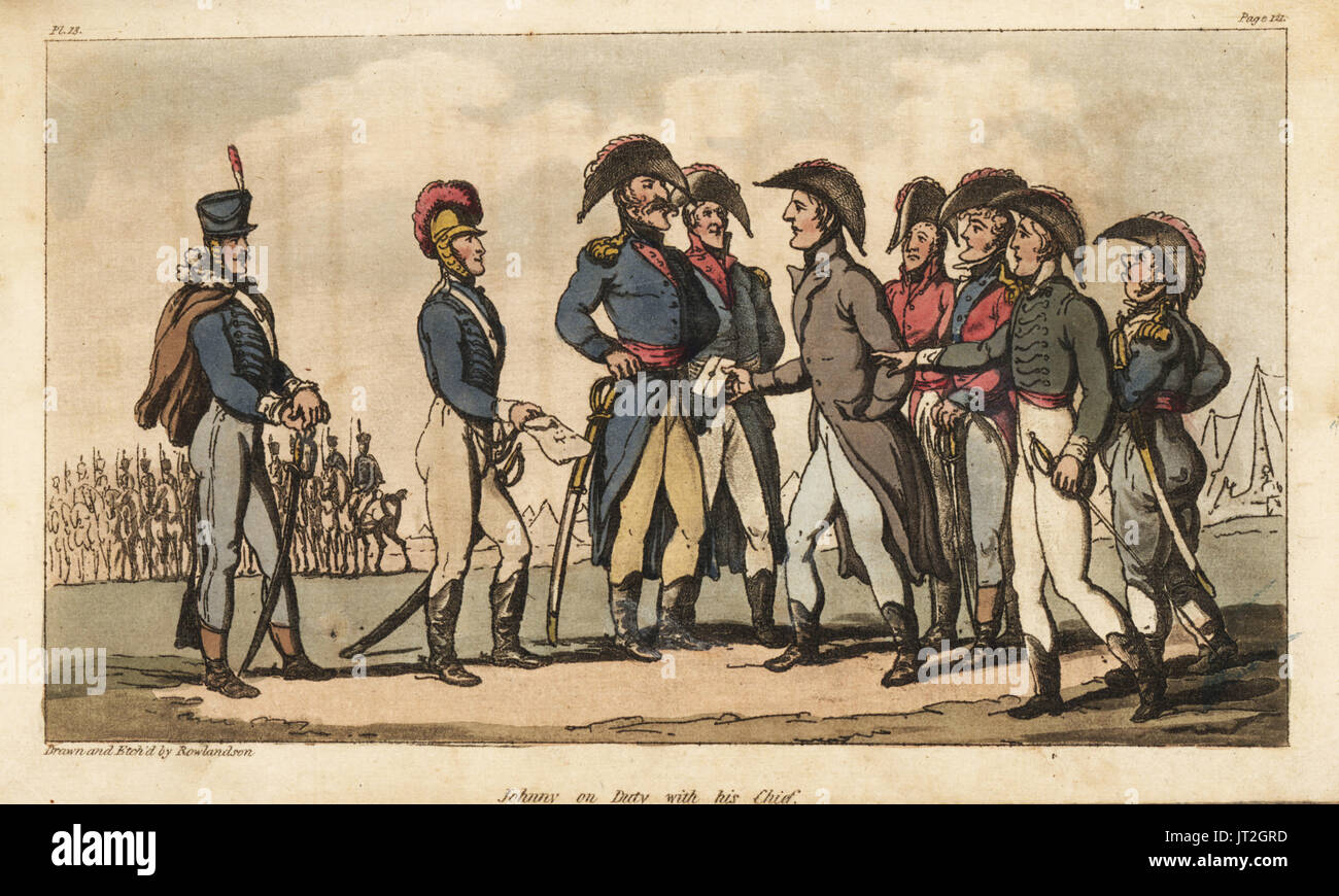 Captain Johnny Newcome on duty as Aide de Camp to the Duke of Wellington during the Peninsula Campaign. Handcoloured copperplate engraving drawn and etched by Thomas Rowlandson from Colonel David Roberts' The Military Adventures of Johnny Newcome, Martin, London, 1815. - Stock Image