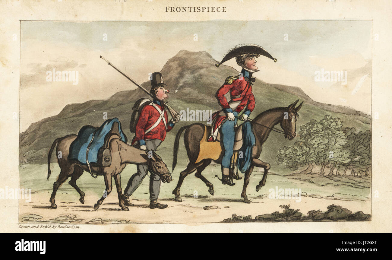 Ensign Johnny Newcome riding a horse accompanied by a subaltern with pack horse in Portugal. Handcoloured copperplate engraving drawn and etched by Thomas Rowlandson from Colonel David Roberts' The Military Adventures of Johnny Newcome, Martin, London, 1815. - Stock Image