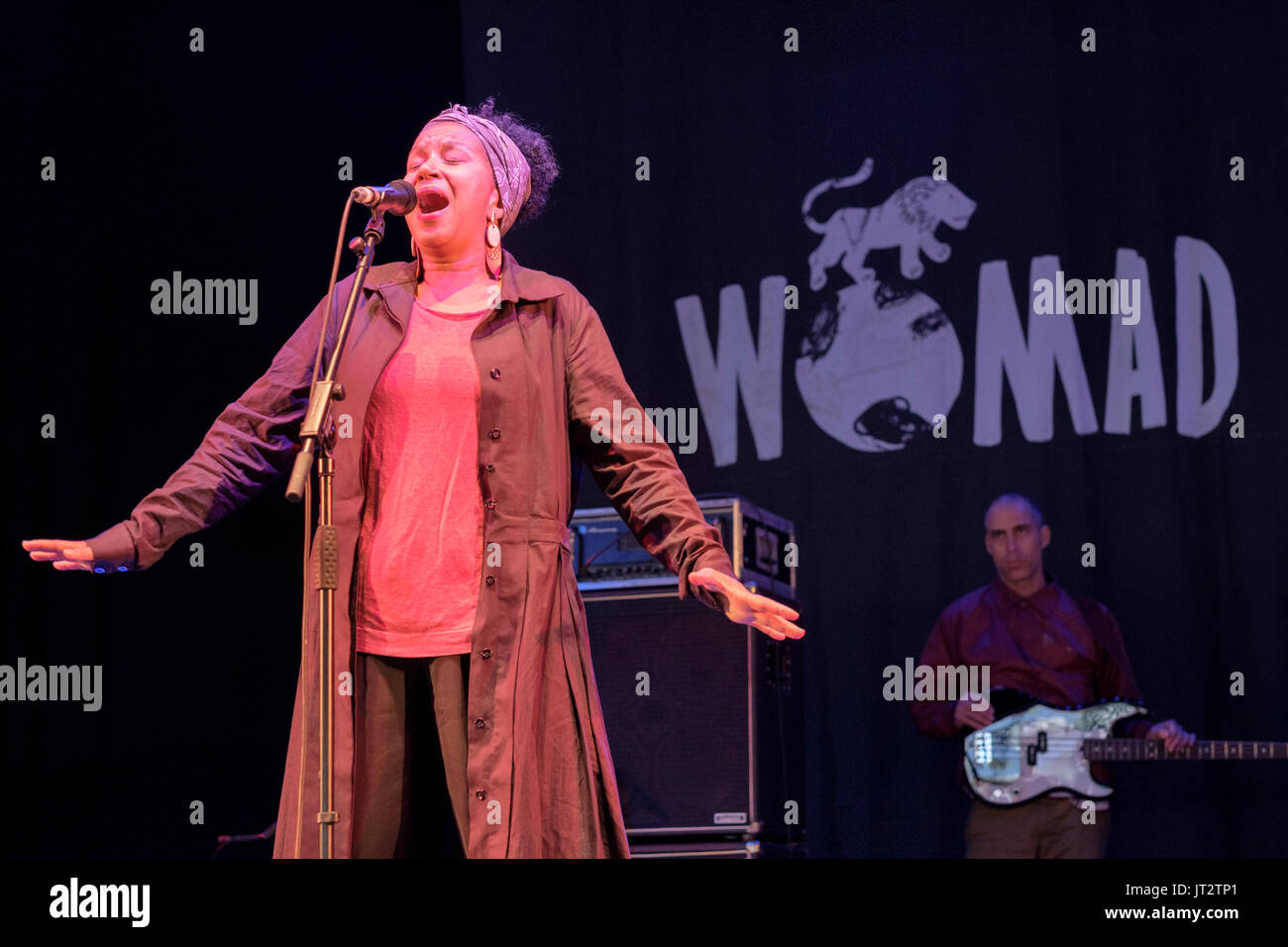 Jucara Marcal of Meta Meta performing at the WOMAD Festival, Charlton Park, Malmesbury, Wiltshire, England, July 28, 2017 - Stock Image