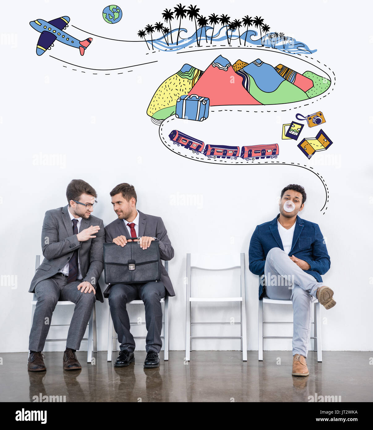 businessmen sitting on chairs - Stock Image