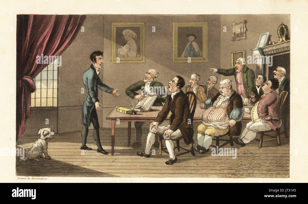 Johnny and his creditors. The poor gentlemen faces a roomful of traders and shopkeepers demanding repayment of his debts. Handcoloured copperplate engraving by Thomas Rowlandson from William Combe's The History of Johnny Quae Genus, the Little Foundling of the late Doctor Syntax, Ackermann, London, 1822. - Stock Image