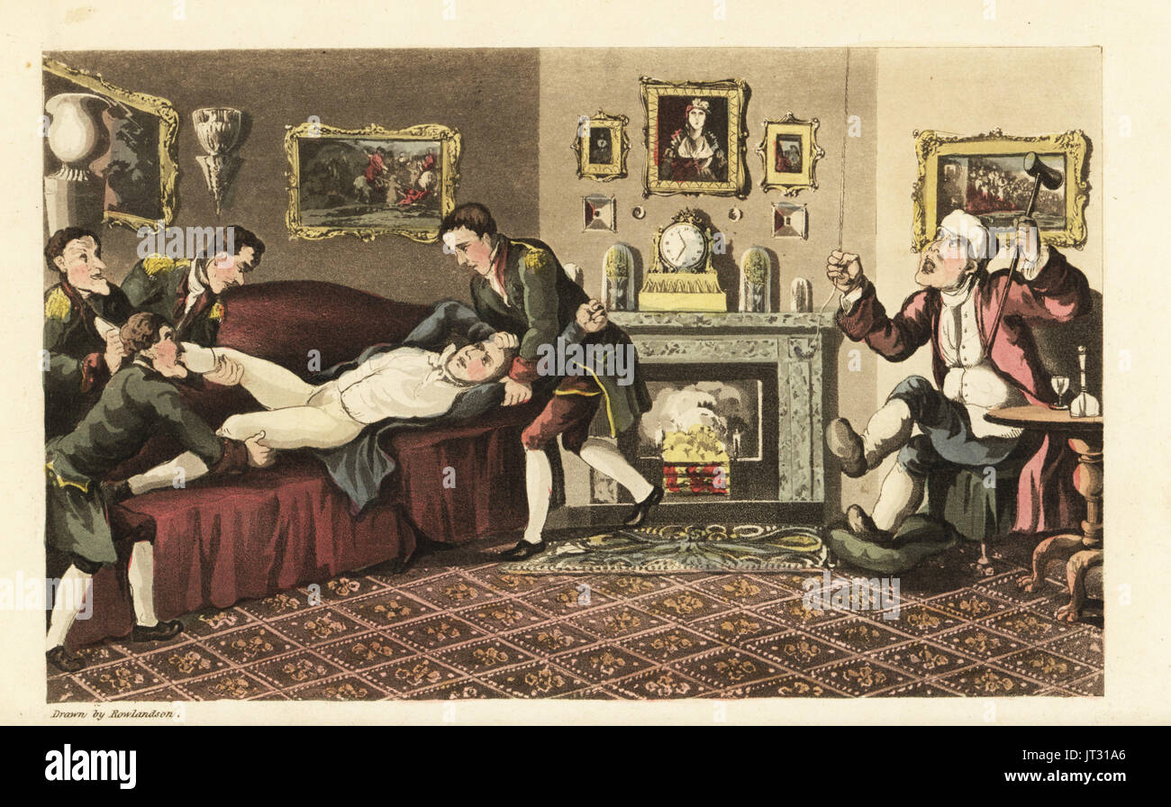 Johnny drunk on the sofa of Sir David Dangle's house thrown out by the liveried footmen. Handcoloured copperplate engraving by Thomas Rowlandson from William Combe's The History of Johnny Quae Genus, the Little Foundling of the late Doctor Syntax, Ackermann, London, 1822. - Stock Image