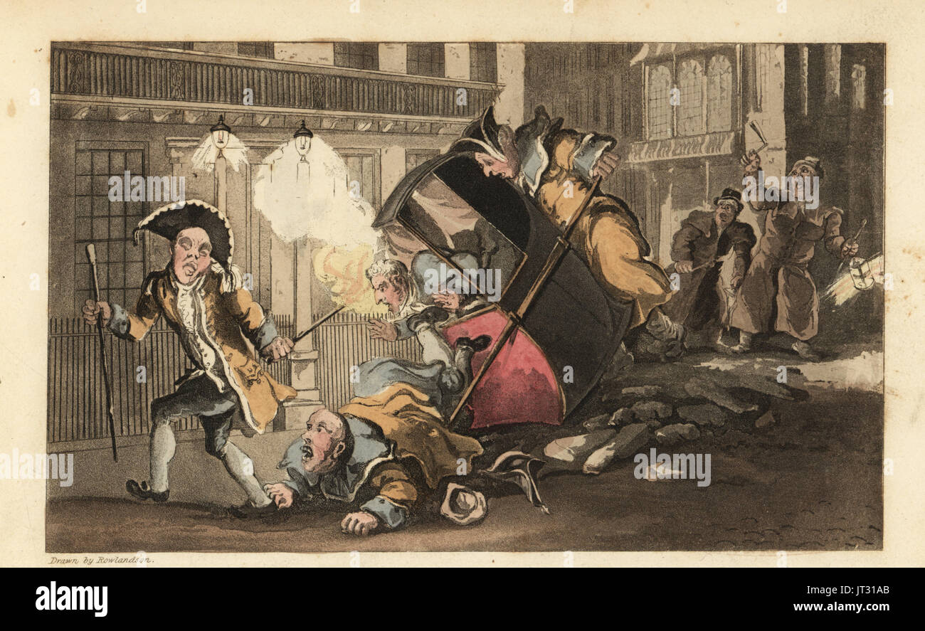 Johnny thrown out of a sedan chair when the porters crash over a pile of stones in the street. Night Watchmen with lanterns and rattles arrive. Handcoloured copperplate engraving by Thomas Rowlandson from William Combe's The History of Johnny Quae Genus, the Little Foundling of the late Doctor Syntax, Ackermann, London, 1822. - Stock Image