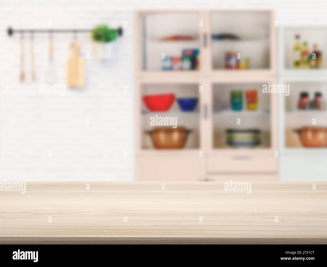 Wooden Counter Top With Kitchen Cabinet Background Stock