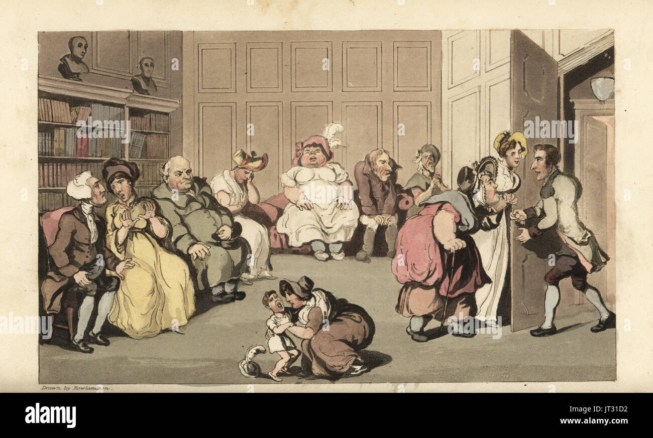 Johnny with other patients in quack doctor Anodyne's waiting room. Handcoloured copperplate engraving by Thomas Rowlandson from William Combe's The History of Johnny Quae Genus, the Little Foundling of the late Doctor Syntax, Ackermann, London, 1822. - Stock Image