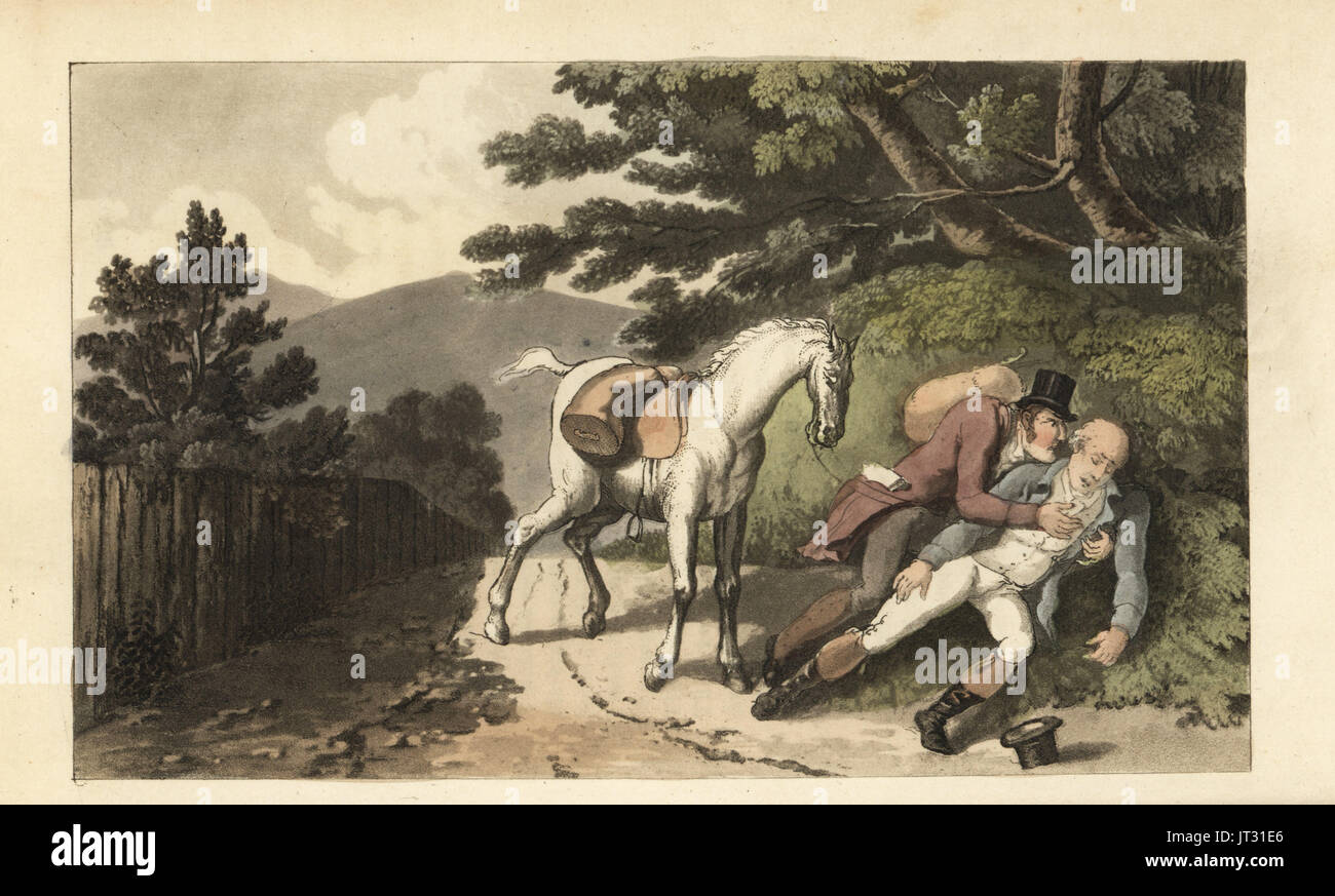 Johnny assisting a traveller who has been thrown from his horse. Handcoloured copperplate engraving by Thomas Rowlandson from William Combe's The History of Johnny Quae Genus, the Little Foundling of the late Doctor Syntax, Ackermann, London, 1822. - Stock Image