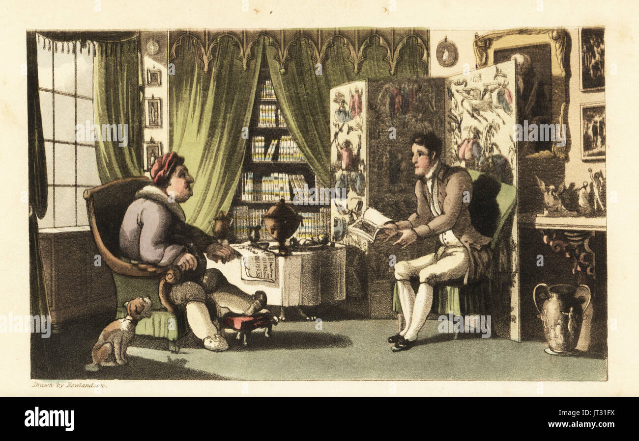 Johnny reading to Sir Jeffery Gourmand in his study. Handcoloured copperplate engraving by Thomas Rowlandson from William Combe's The History of Johnny Quae Genus, the Little Foundling of the late Doctor Syntax, Ackermann, London, 1822. - Stock Image