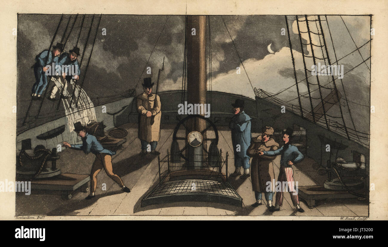 Naval rite of passage, Dogfish Bark: Johnny is sent on deck to listen for the bark of a dogfish, only to be soaked by buckets of water from sailors in the rigging. Handcoloured copperplate engraving by W. Read after an illustration by Thomas Rowlandson from Alfred Burton's The Adventures of Johnny Newcombe in the Navy, Simpkin, London, 1818. - Stock Image