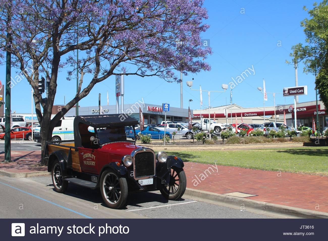 Old-timer car parked under a jacaranda tree, Murray bridge, South Australia - Stock Image