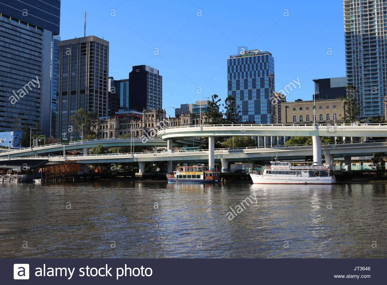 View on the city of Brisbane and the Highway from the river, Queensland, Australia - Stock Image