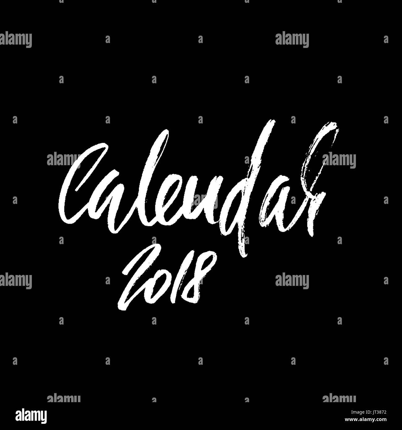 2018 Calendar Beautiful Greeting Card Calligraphy Black Vector