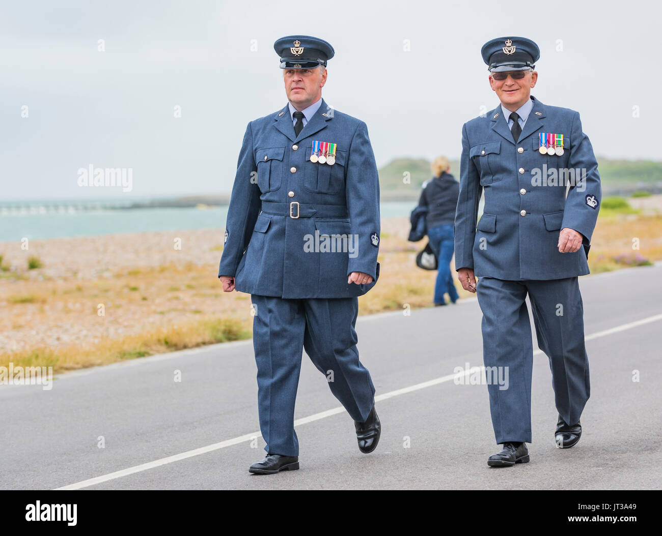 ATC (Air Training Corps) officers matching on Armed Forces Day on 24th June 2017 in Littlehampton, West Sussex, England, UK. - Stock Image