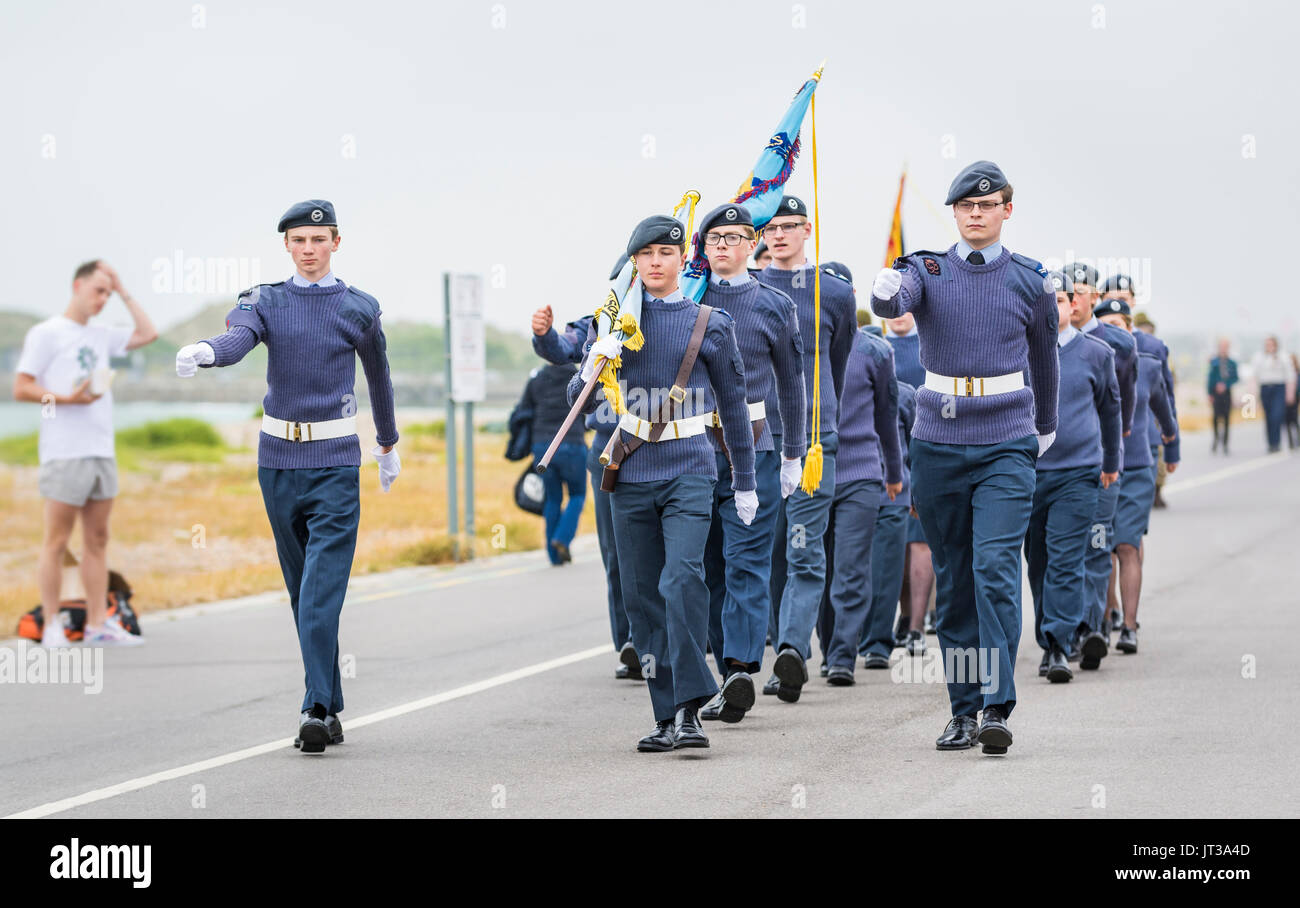 ATC (Air Training Corps) youths matching on Armed Forces Day on 24th June 2017 in Littlehampton, West Sussex, England, UK. - Stock Image