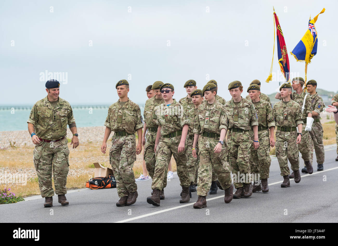Army cadets from the Royal British Legion in Littlehampton marching at the 2017 Armed Forces Day event in Littlehampton, West Sussex, England, UK. - Stock Image