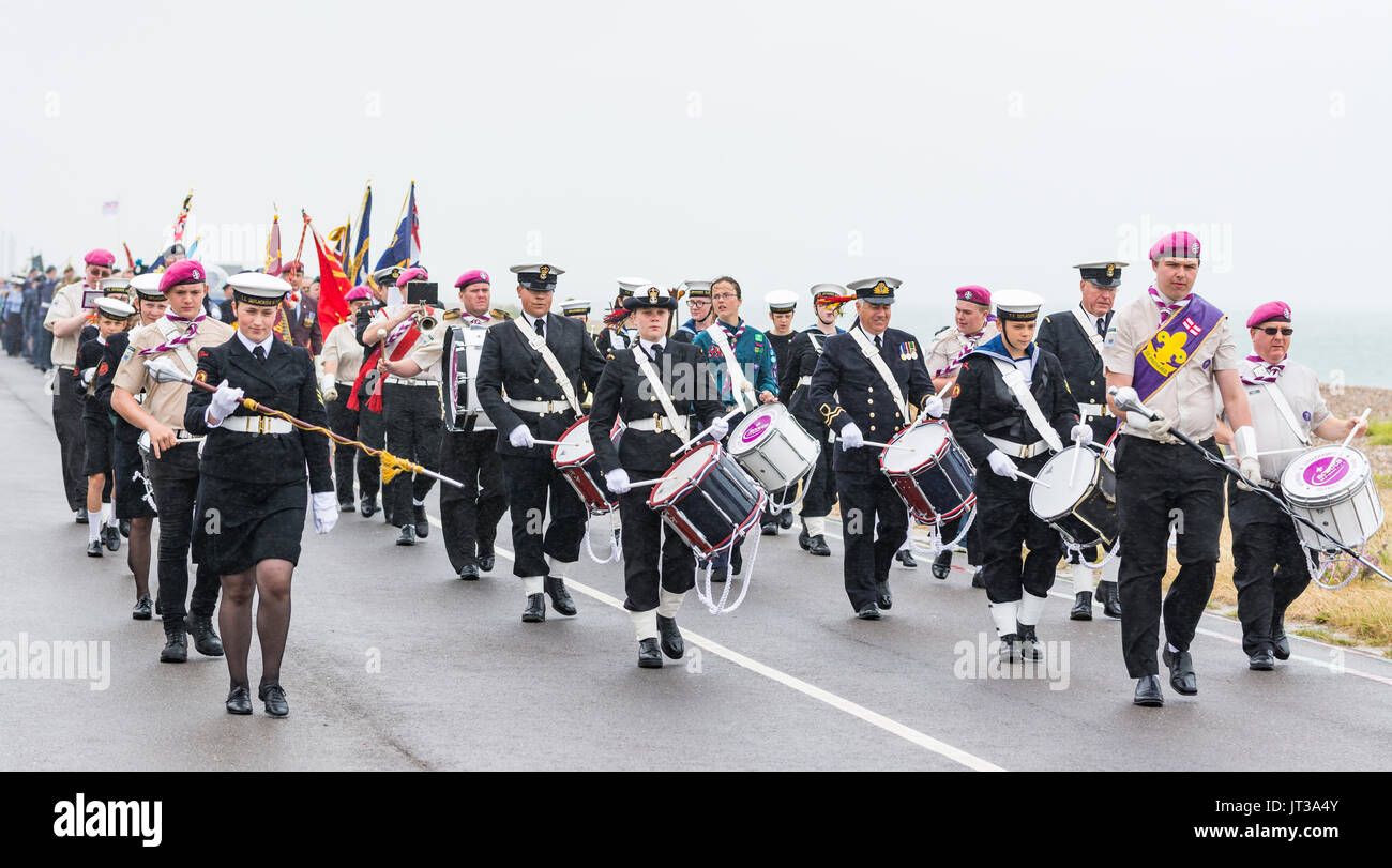 NTC (Nautical Training Corps) marching military band at the 2017 Armed Forces Day event in Littlehampton, West Sussex, England, UK. - Stock Image